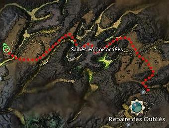 Carte de la quête: Droajam, Mage des sables (Quête zaishen)
